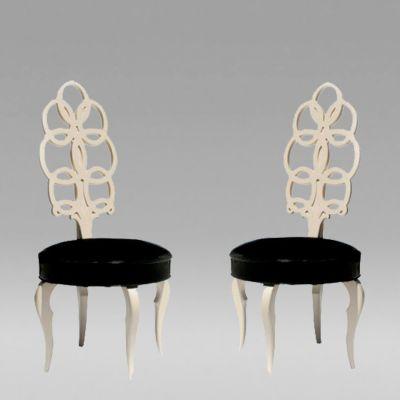 Pair Of High Back Loop Chairs, 1950 By Frances Elkins.