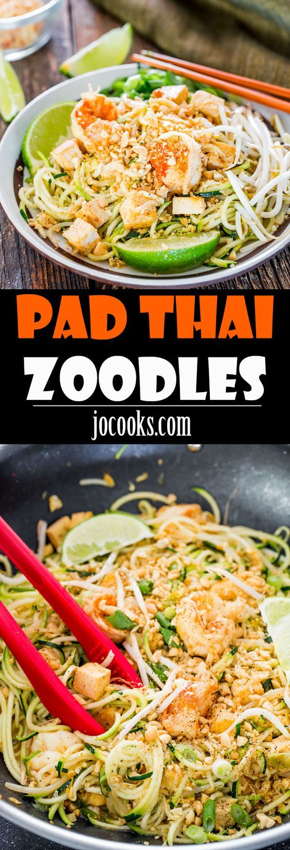 Pad Thai Zoodles - take your favorite Pad Thai recipe and make it healthier with oodles of zoodles instead of high carb noodles, weighing in at a mere 263 calories a serving.