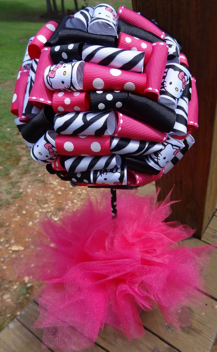hello kitty baby shower | Ribbon Topiary in Hello Kitty Zebra, Hot Pink, Black for Party/Shower ...