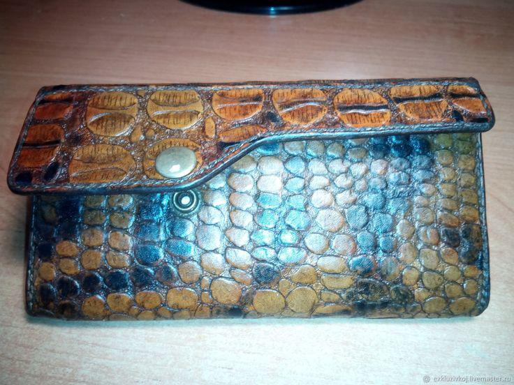 Купить Женский кошелёк под крокодила. - визитница, рыжий, клатч кожаный, мужской кошелек, бумажник