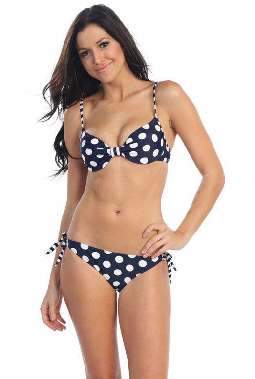 Sprinkler Fun Polka Dot Bikini Set in Navy Blue