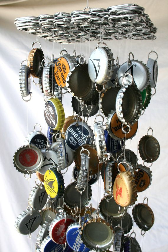 MultiBrand Beer Bottle Cap Windchime by DabblingHabits on Etsy, $60.00, 60 bucks!!! Crikey!! I can make one for WAY less than that! Better find some caps,want to make before Pat comes home.