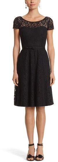 White House Black Market Cap Sleeve Lace Fit & Flare Dress on shopstyle.com