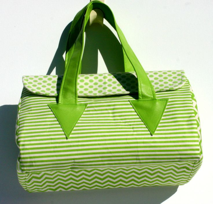 green and cream coordinated cotton bag. with vinyl handles. Top flap with magnetic closure. 33 x 26 x 16 cm $60