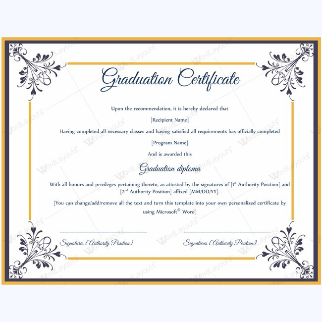Printable Graduation Certificate Graduationcertificateforstudent