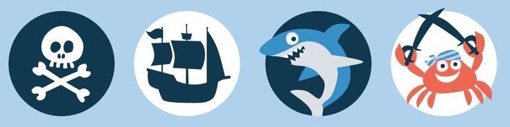 ⚓ Piratenzimmer: Bordüre selbstklebend PIRATEN BLAU/ORANGE - Wandbordüre Kinderzimmer / Babyzimmer mit Pirat-Motiven in versch. Farben - Wandtattoo