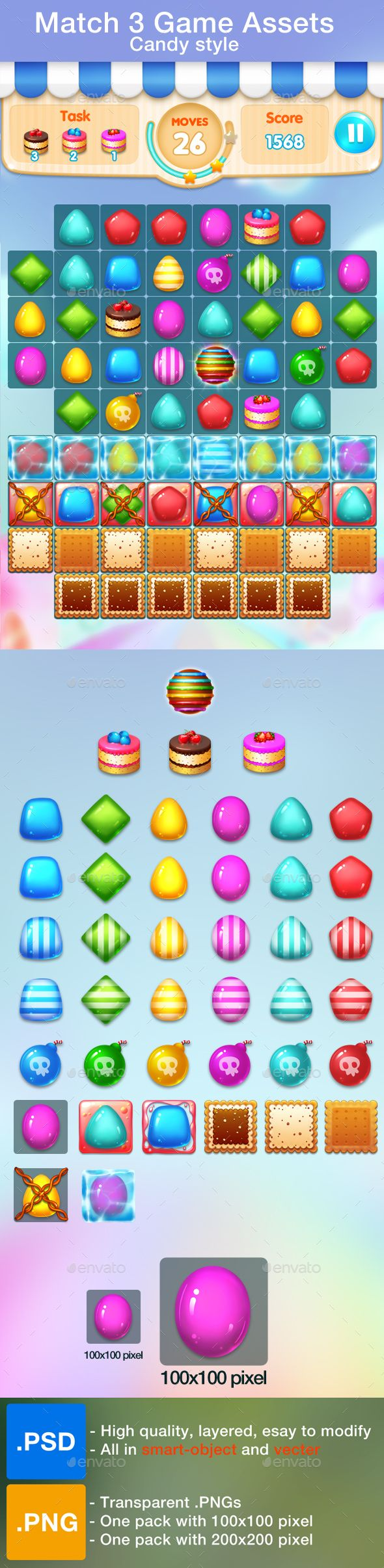 Match 3 Game Assets - All items needed for match 3 game in candy style  - 6 different candies with normal, bright, vertical and horizontal powered  - Included: 2 tiles , 3 levels cookie block ( lock and ice ) , 3 special items…  - All in high quality.