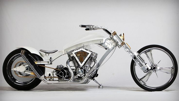 In 2012, American Chopper star Paul Teutul Jr., of Paul Jr. Designs, built this bike in honor of those who lost their lives during the terrorist attacks on September 11, 2001. As a testament to the city's resilience and the rebuilding of the World Trade Center, the top of the skeleton-like frame is detailed with a series of ribs flanking either side to resemble a similar design element at the memorial site. The front fork is fashioned like girders, while the exhaust is modeled after the…