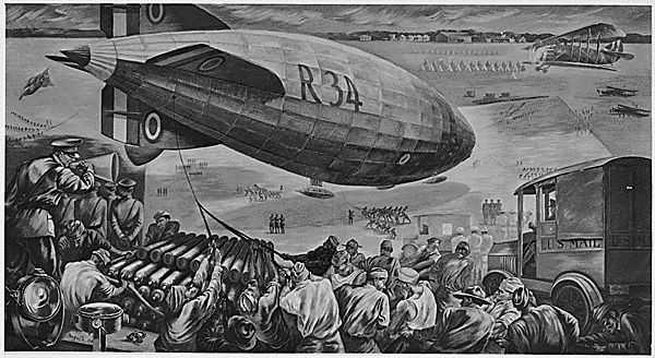 FDR's NEW DEAL - FWA - PBA - Paintings and Sculptures for Public Buildings - Painting depicting World War I scene with soldiers and ammunition in foreground and large dirigible suspended in upper middle; 1937.  (Artist:  Peppino Mangravite, Hempstead, New York)