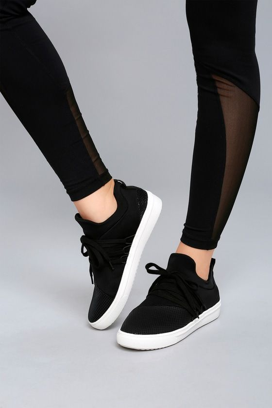 a9608c50eb8 Take your street style to a chic new level with the Steve Madden Lancer  Black Sneakers! These sleek knit sneaks have a rounded toe with mesh  detailing