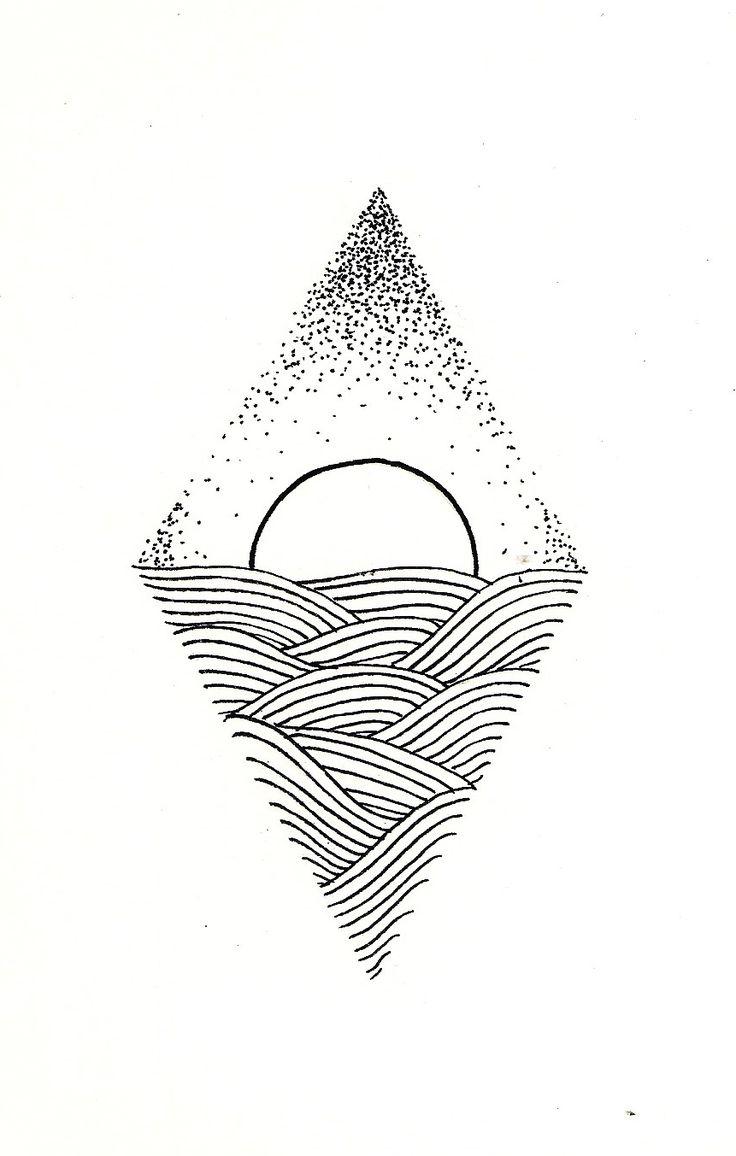 tattoo, sunshine, black, drawing, sun, sea