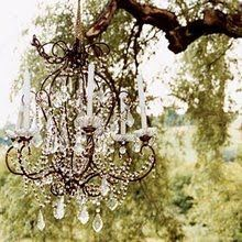 Love a chandelier hanging from a tree!
