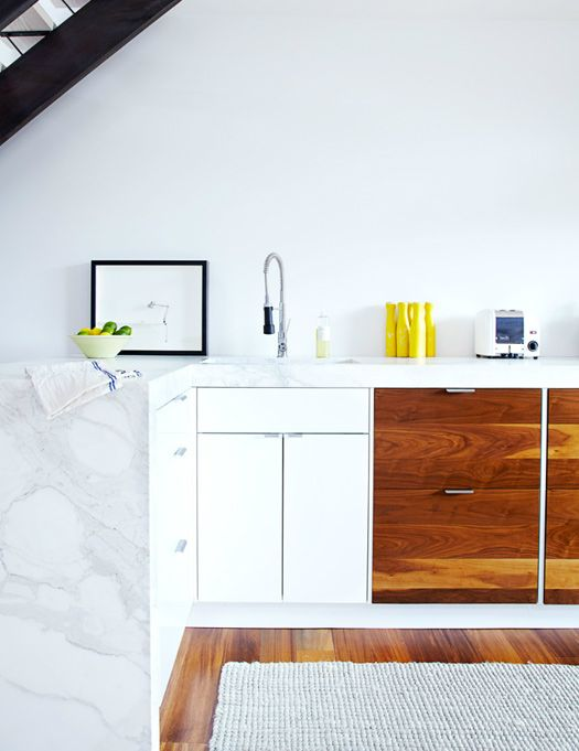 marble + white + wood.