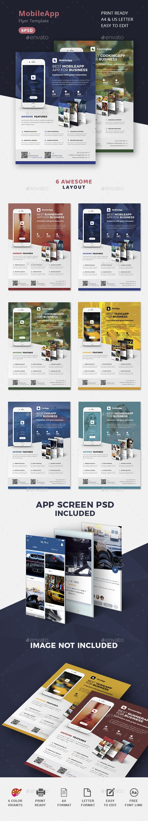 Mobile App Promotion Flyers Template PSD