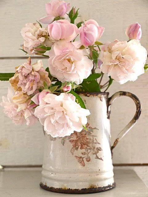 Pink Roses arranged in a Shabby Chic Enamel Jug ....