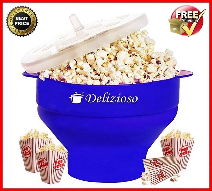 Microwave Popcorn Maker For Home Healthy Silicone Hot Air Collapsible Popper NEW #Delizioso