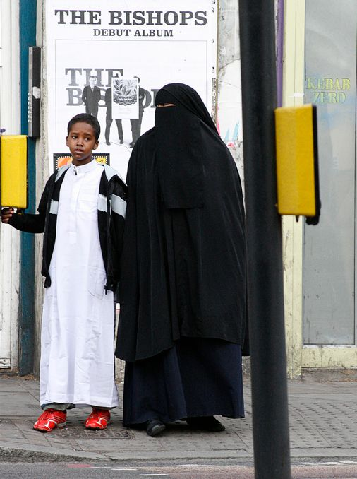 Somali woman in a niqab in England.