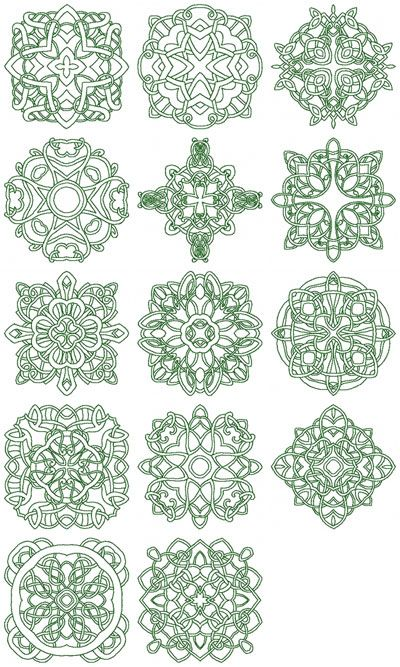 celtic+embroidery+hus | Set of 14 line designs in the Celtic Knotwork style of art. Each block ...