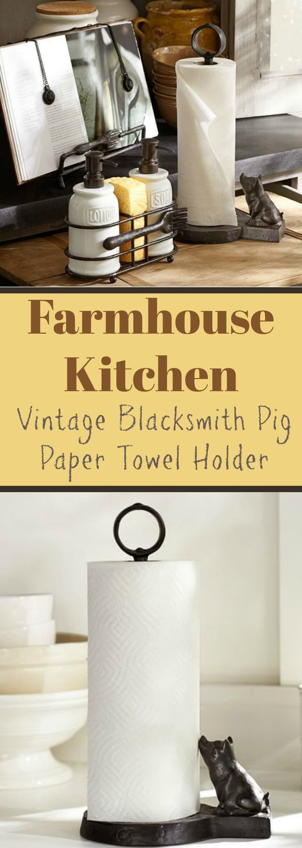 Piggy! I need this in my kitchen. Farmhouse Kitchen: Vintage Blacksmith Pig Paper Towel Holder ~ A helpful little pig transforms this traditional kitchen essential into a charming decorative piece. Finished in antique bronze, our sturdy paper towel holder features a wide base to fit large rolls and a ring-shaped top. #farmhousekitchen #ad #vintagehome #pigs
