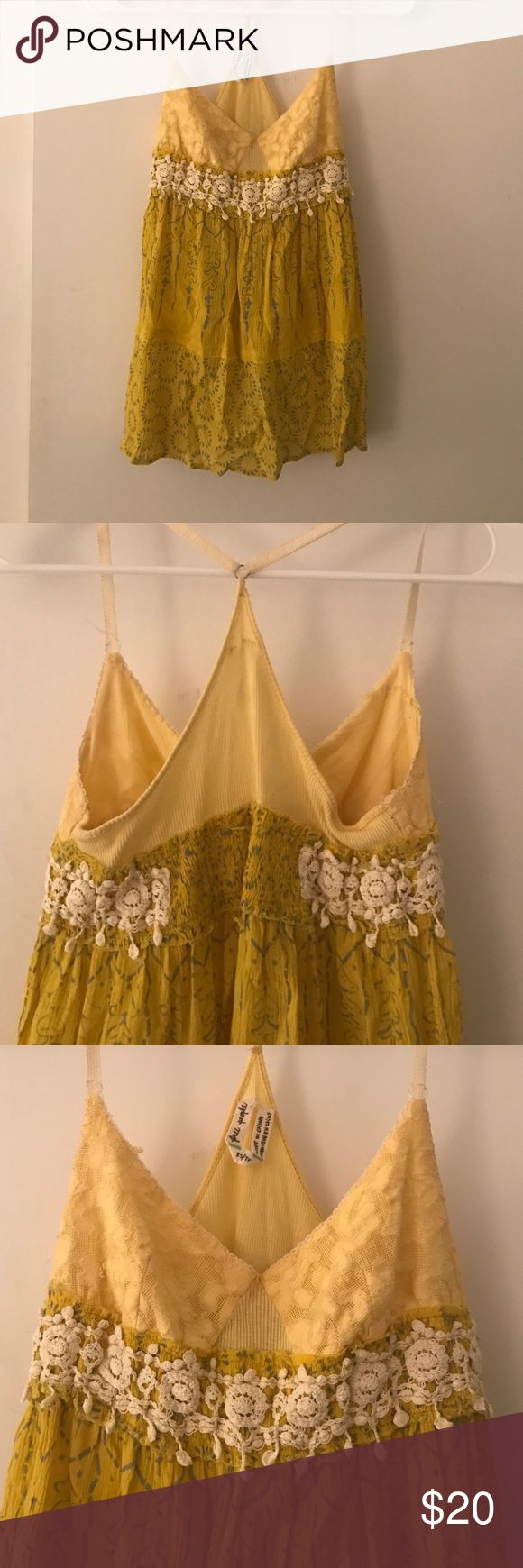 FREE PEOPLE: boho tank Gorgeous free people bohemian tank top in yellow with crochet detail around bust! Adjustable spaghetti straps! Free People Tops Tank Tops