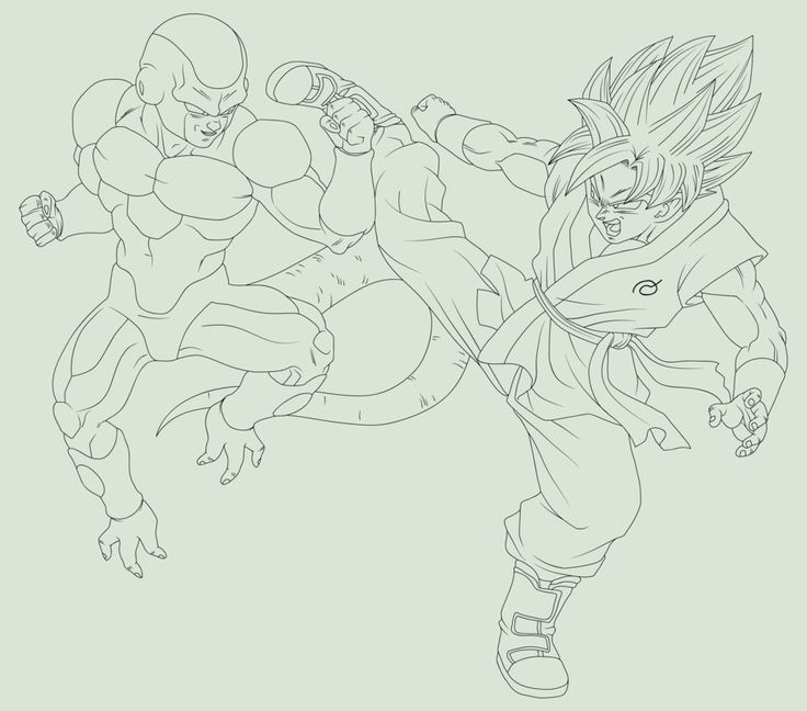 Gold Frieza vs SSGSS Goku Fukkatsu no F Lineart by EymSmiley