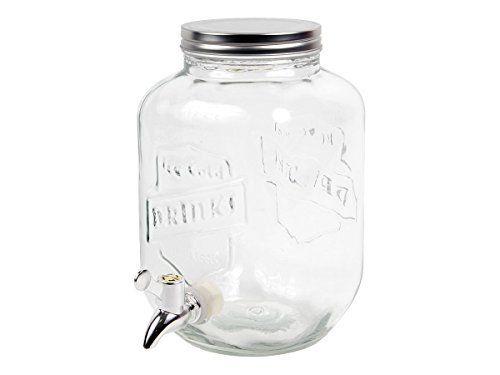 Distributeur de boisson 3,5 Litres Fontaine à boisson (Alsino 78/7851) Pot Mason grand bocal en verre avec couvercle Limonadière Une…
