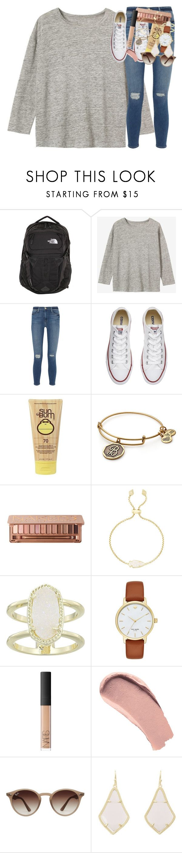 """day two: touring the city"" by classynsouthern ❤ liked on Polyvore featuring The North Face, Frame, Converse, Sun Bum, Alex and Ani, Kendra Scott, Kate Spade, NARS Cosmetics, Burberry and Ray-Ban"