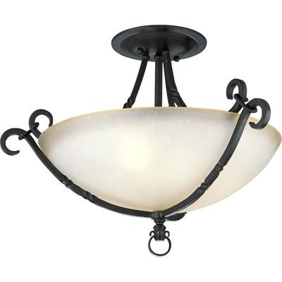 Progress Lighting - Santiago Collection Forged Black 3-light Semi-flushmount - 785247135318 - Home Depot Canada