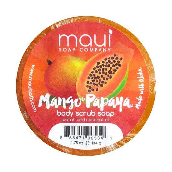 Maui Soap Company Mango Papaya Body Scrub Loofah Soap