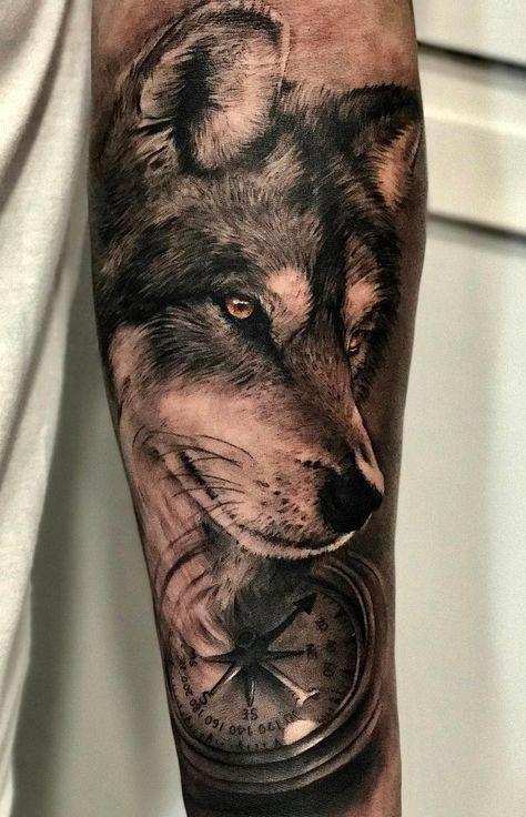 a53c404286900 black & gray realistic wolf tattoo © tattoo studio SEVEN TATTOO  💛📌💛📌💛📌💛📌💛 #sleevetattoos