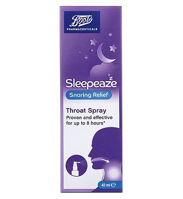 #Boots Pharmaceuticals Boots Re:balance Snoring Throat Spray 10160546 #52 Advantage card points. Boots Pharmaceuticals Re:balance Snoring Throat Spray 42 ml / 84 applications Targets Snoring caused by the vibration of soft tissue in the throat. FREE Delivery on orders over 45 GBP. (Barcode EAN=5045092995525)