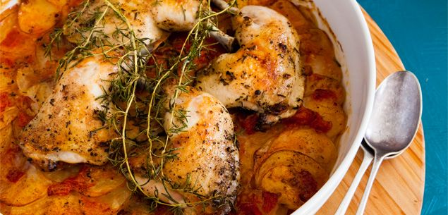 About how to make a delicious baked chicken with tomato and thyme potato gratin.