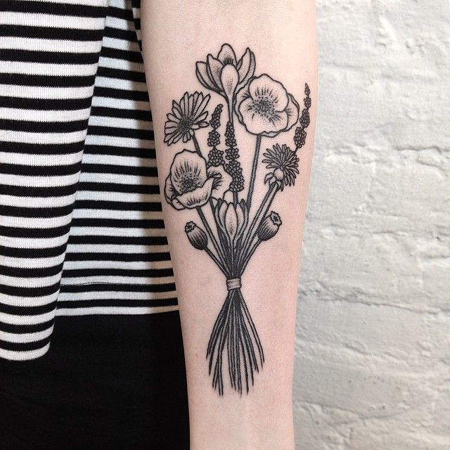 Flower bouquet tattoo by Tanya De Souza-Meally