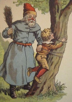 Old postcard image of the German Belsnickel. Carried switches and a sack of candies, nuts & fruit. Good kids got treat, bad ones got the switch. (Image from Tumblr):