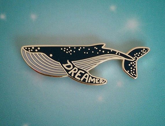 Dream Whale enamel pin badge by maybeaduck on Etsy