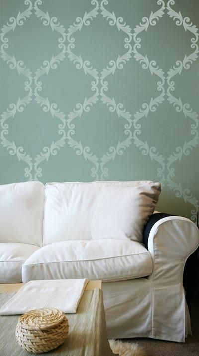 Large Trellis Wall Stencil | Acanthus Damask Wall Stencil for DIY Wallpaper | Royal Design Studio Stencils