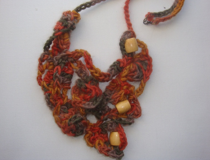 Free Form Crochet Necklace - Artistic Statement Necklace. $95.00, via Etsy.
