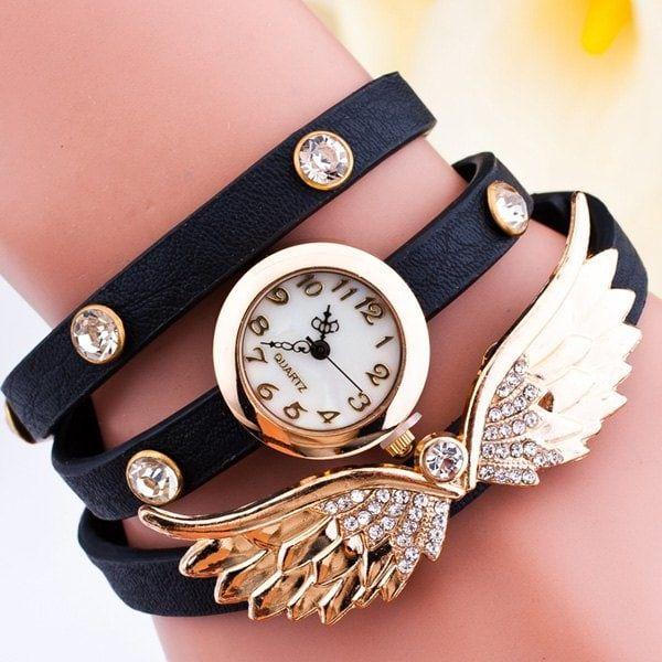 Angel Wings Rhinestone Wrap Bracelet Watch - BLACK