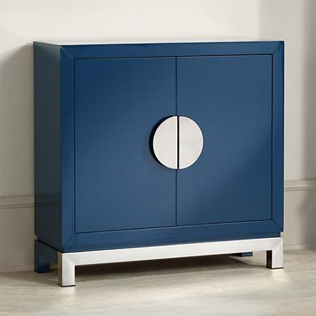 Walden Glossy Blue 2 Door Accent Cabinet Style 1w429