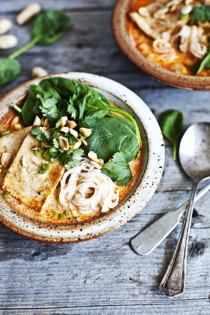 Soupe thaï au lait de coco, shiitake & tofu ©Emiliemurmure