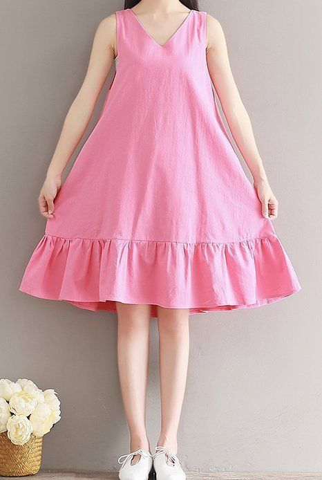 Women loose fitting over plus size pink dress tunic pregnant maternity fashion #Unbranded #dress #Casual