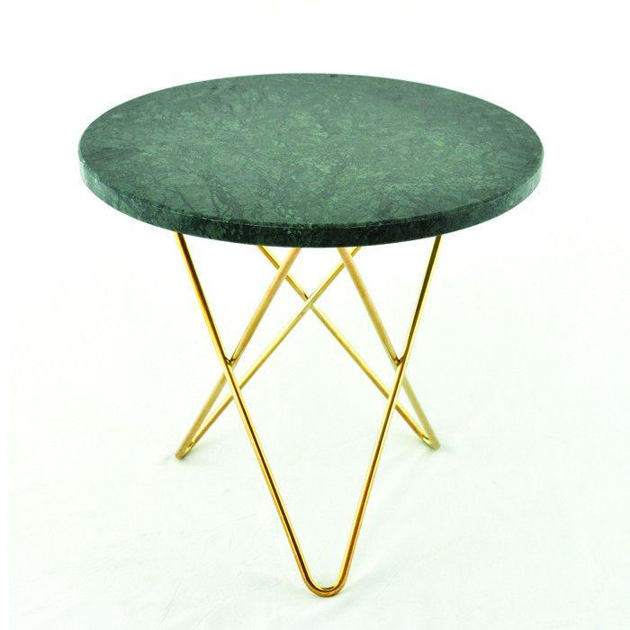 Mini O-Table, Grøn/Messing Ø 50