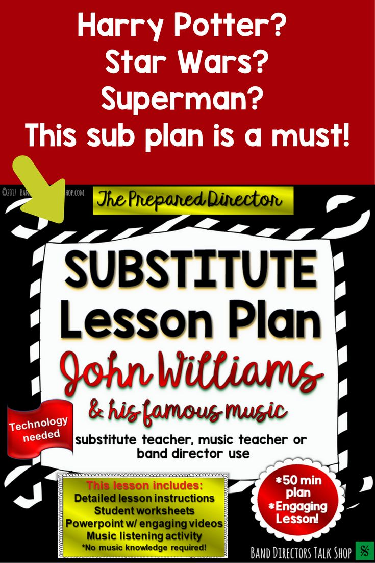 Great music sub lesson plan for middle school or high school band directors. Harry Potter, Superman and Star Wars- all while studying the life of John Williams!