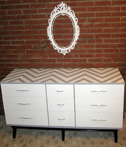 MOD Gray Dresser With Chevron Print By Shabby Maggie contemporary dressers chests and bedroom armoires