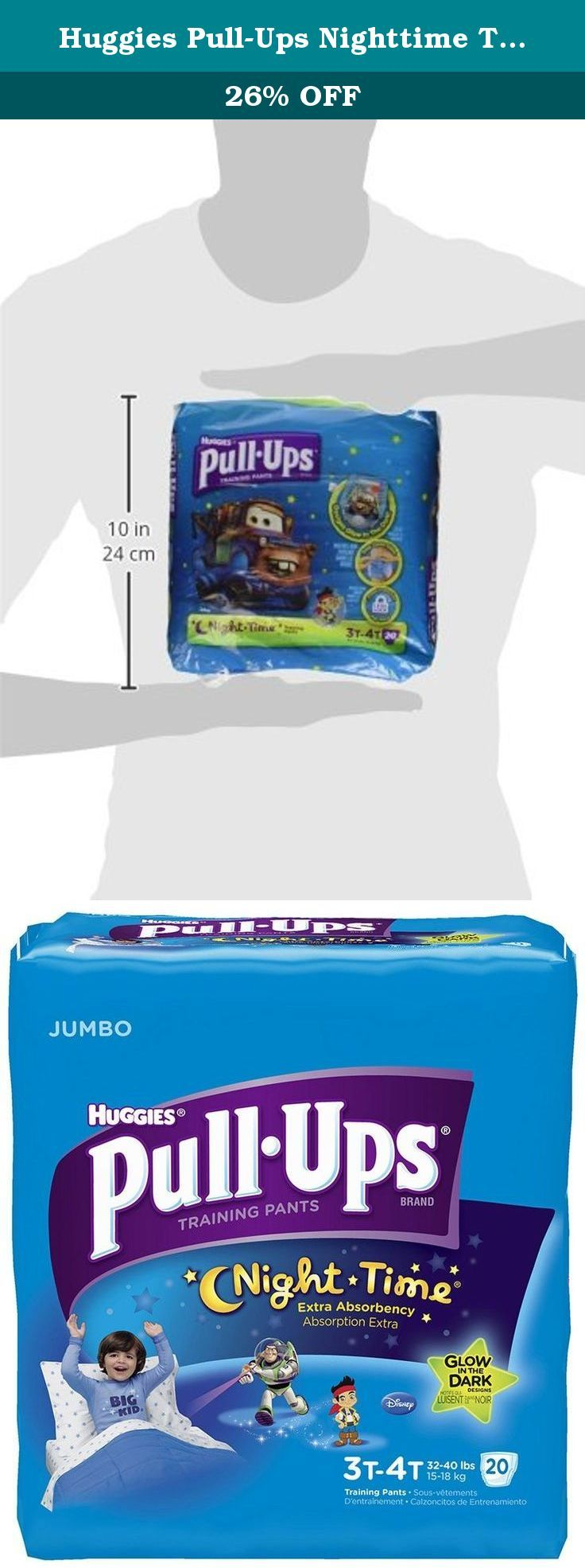 Huggies Pull-Ups Nighttime Training Pants for Boys, 20 Count. The most absorbent training pant, with zones designed for boys and girls. Glow in the dark Disney designs make staying consistent at night more fun, with a three-step glow show. Styles and characters may vary.