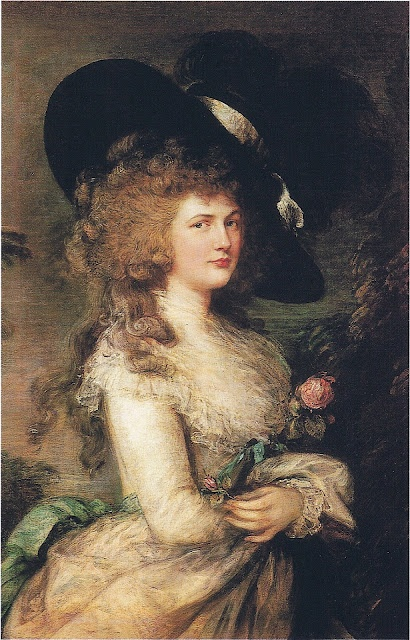 """Lady Georgiana Cavendish, Duchess of Devonshire, painted by Thomas Gainsborough in 1787, 13 years into her highly publicized and disappointing marriage. Her life has often been compared to that of Princess Diana. Not only did both live in """"love triangles"""" but they are both Spencer girls. This painting is on the cover of the British version of Amanda Foreman's book, which was the basis for the subsequently made film, """"The Duchess"""" starring the superb Keyra Knightly and Ralph Fiennes."""