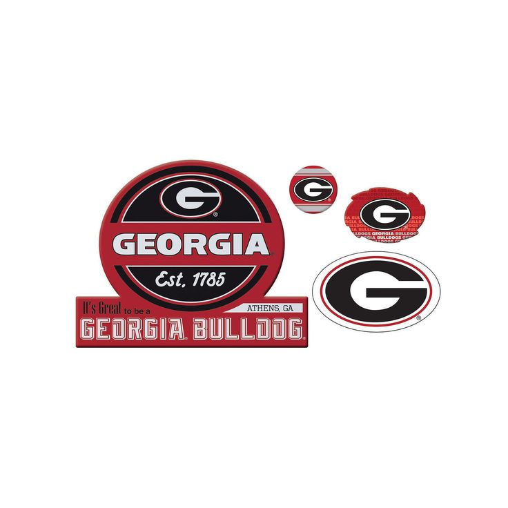 Georgia Bulldogs Game Day 4-Piece Magnet Set, Multicolor