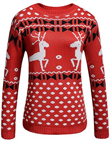 Camii Mia Women's Crew Neck Contrast Pullover Sweater (Large, Red) >>> Read more at the image link.