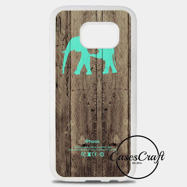 Mint Chevron Elephant On Dark Wood Background Samsung Galaxy S8 Plus Case | casescraft