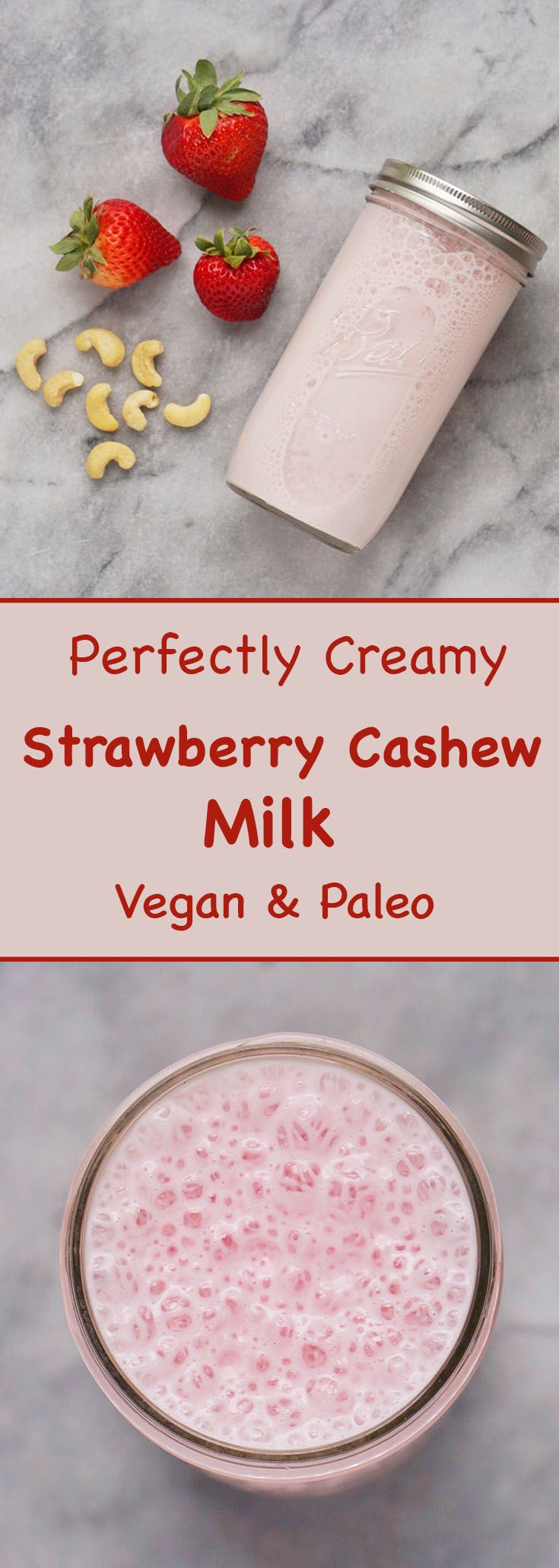 This perfectly creamy and delicious homemade strawberry cashew milk is made with only two simple ingredients and is free of refined sugar, dairy and gluten.